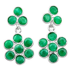7.85cts natural green emerald 925 sterling silver chandelier earrings t38921