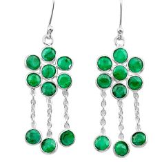 8.10cts natural green emerald 925 sterling silver chandelier earrings t38923