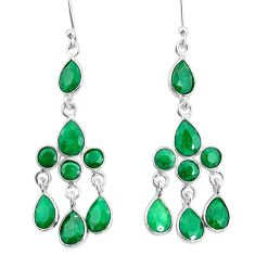 11.57cts natural green emerald 925 sterling silver chandelier earrings t4674