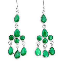 11.71cts natural green emerald 925 sterling silver chandelier earrings t4675