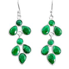 11.17cts natural green emerald 925 sterling silver chandelier earrings t4694