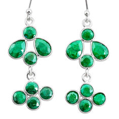 8.49cts natural green emerald 925 sterling silver chandelier earrings t4810