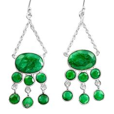 24.22cts natural green emerald 925 sterling silver dangle earrings d45749
