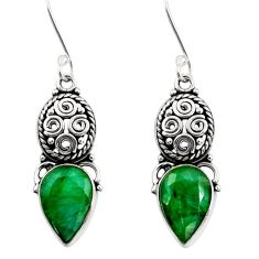 Clearance Sale- 7.97cts natural green emerald 925 sterling silver dangle earrings jewelry d40489