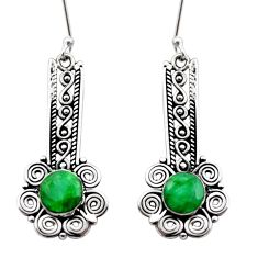 Clearance Sale- 5.53cts natural green emerald 925 sterling silver dangle earrings jewelry d40881