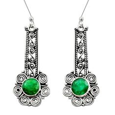 Clearance Sale- 5.53cts natural green emerald 925 sterling silver dangle earrings jewelry d40882