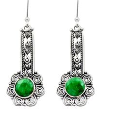 5.54cts natural green emerald 925 sterling silver dangle earrings jewelry d40883