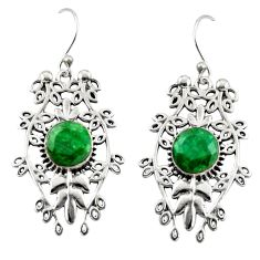6.53cts natural green emerald 925 sterling silver dangle earrings jewelry r19757