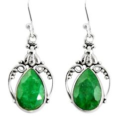 7.97cts natural green emerald 925 sterling silver dangle earrings jewelry r19901