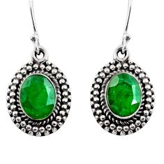 4.30cts natural green emerald 925 sterling silver dangle earrings jewelry r53983