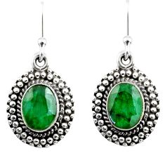 4.30cts natural green emerald 925 sterling silver dangle earrings jewelry r53985