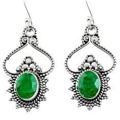 4.02cts natural green emerald 925 sterling silver dangle earrings jewelry r54062