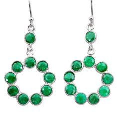9.22cts natural green emerald 925 sterling silver dangle earrings jewelry t12489