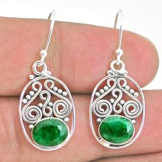 4.28cts natural green emerald 925 sterling silver dangle earrings jewelry t32810