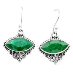 9.72cts natural green emerald 925 silver dangle earrings jewelry t34270