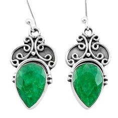8.87cts natural green emerald 925 silver dangle earrings jewelry t34282