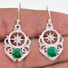 2.12cts natural green emerald 925 sterling silver dangle earrings jewelry t47046