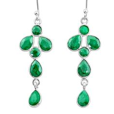 9.22cts natural green emerald 925 sterling silver dangle earrings jewelry t4769