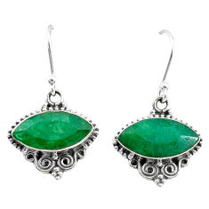 10.08cts natural green emerald 925 silver dangle earrings t34261