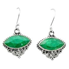 10.20cts natural green emerald 925 silver dangle earrings t34267