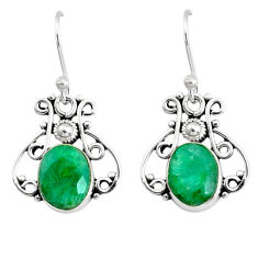 5.54cts natural green emerald 925 silver handmade earrings r73062
