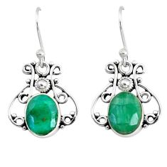 5.54cts natural green emerald 925 silver handmade earrings r73065
