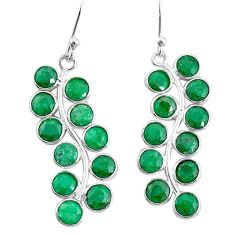 6.74cts natural green emerald 925 sterling silver earrings jewelry t12392