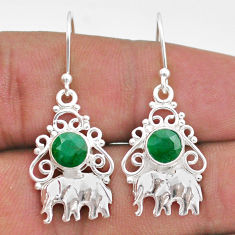 2.11cts natural green emerald 925 sterling silver elephant earrings t47052