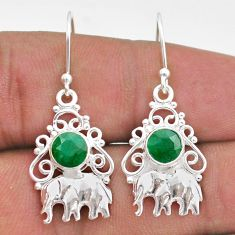 2.10cts natural green emerald 925 sterling silver elephant earrings t47054