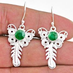 2.46cts natural green emerald 925 sterling silver feather charm earrings t47058