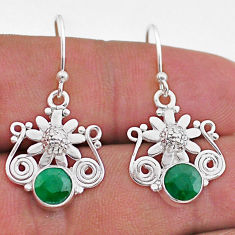 2.34cts natural green emerald 925 sterling silver flower earrings jewelry t47041