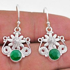 2.21cts natural green emerald 925 sterling silver flower earrings jewelry t47042