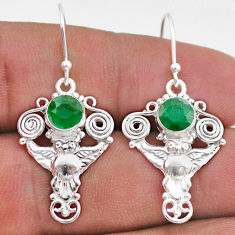 2.46cts natural green emerald 925 sterling silver owl earrings jewelry t47055