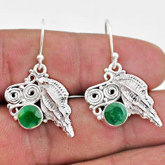 2.74cts natural green emerald 925 sterling silver seashell earrings t47051
