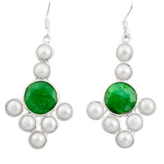 16.86cts natural green emerald pearl 925 silver chandelier earrings d39822