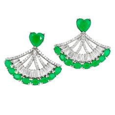 Natural green emerald quartz topaz 925 silver dangle earrings c19517