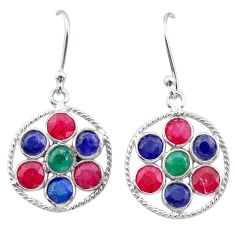 6.20cts natural green emerald ruby sapphire silver chandelier earrings t38920