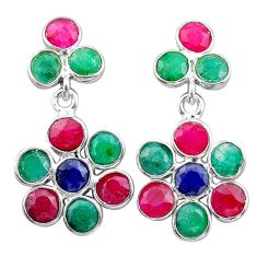 7.65cts natural green emerald sapphire 925 silver chandelier earrings t38937