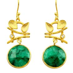 18.60cts natural green emerald topaz 925 silver 14k gold dangle earrings r32885