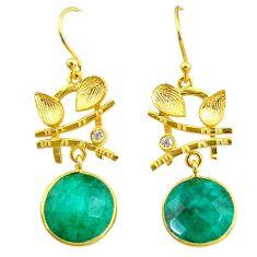 11.54cts natural green emerald topaz 14k gold handmade dangle earrings t11525