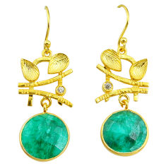 11.21cts natural green emerald topaz 14k gold handmade dangle earrings t11526