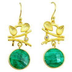 12.03cts natural green emerald topaz 14k gold handmade dangle earrings t11528