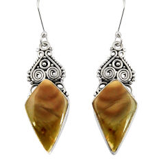 Clearance Sale- 16.73cts natural green imperial jasper 925 silver dangle earrings d39647
