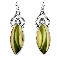 16.20cts natural green imperial jasper 925 silver dangle earrings r30272
