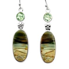18.14cts natural green imperial jasper 925 silver dangle earrings r30461