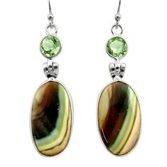 16.88cts natural green imperial jasper 925 silver dangle earrings r30462