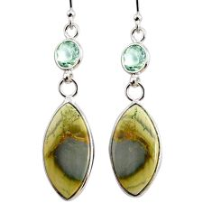12.26cts natural green imperial jasper amethyst 925 silver earrings r75767