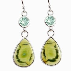 12.23cts natural green imperial jasper amethyst 925 silver earrings r75769