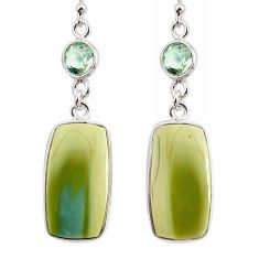 17.35cts natural green imperial jasper amethyst 925 silver earrings r75770