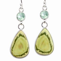 14.30cts natural green imperial jasper amethyst 925 silver earrings r75776